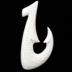 Bone fish hook carved pendant