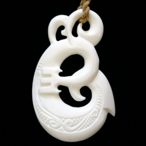 Ornate carved polynesian pendant necklace