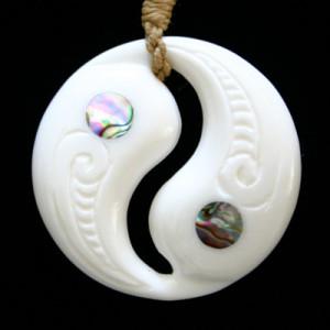 Bone yin yang necklace pendant