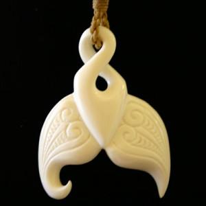 unique bone whale tail necklace