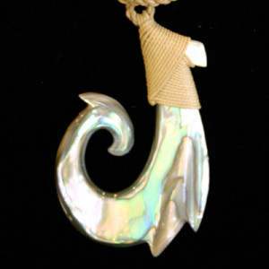 shiny unique polynesian shell necklace with hook