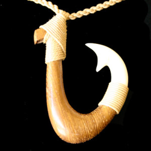 polynesian wood hook necklace